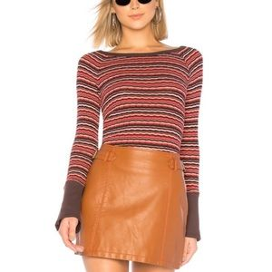 Free People NWT Donna Earthen Striped Thermal Top